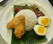 Fried chicken rice with fried eggs