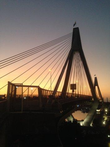 ANZAC Bridge in the sunset.